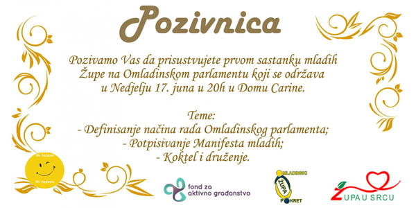 Organizuje se prvi Omladinski parlament Župe